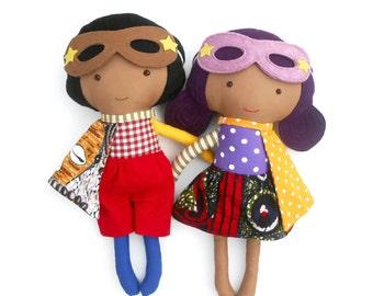 Superhero rag dolls, for african american or mixed race kids, brown skin dolls, toddlers gift or for twins, sieblings, superhero birthday