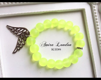 Children's frosted neon beaded braclet with diamonte spacer and silver angel wing charms
