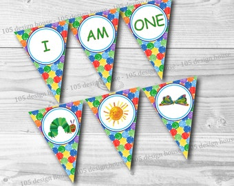 """The Very Hungry Caterpillar """"I AM ONE"""" High Chair Banner Printable - High Chair Pennant - Instant Download - Caterpillar Banner"""