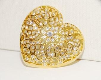 Free shipping Napier Vintage Gold Tone Rhinestone Lge Heart Brooch.