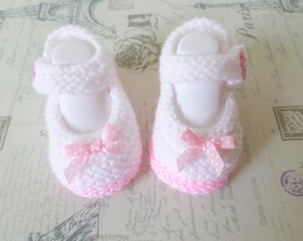 Hand Knitted Baby Girl Booties Mary Jane Shoes