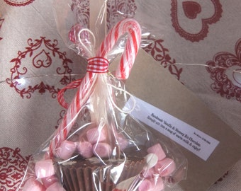 Valentine's Day 4 Hand made nutmeg hot chocolate spoons/ stirrers/ with mini marshmallows and a candy cane