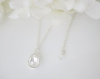 Swarovski teardrop bridal necklace, Simple crystal wedding necklace, Sterling silver pendant necklace, Bridesmaid necklace