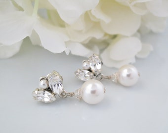 Simple crystal and pearl post bridal earring, Swarovski pearl drop wedding earring, Bridesmaid drop earring