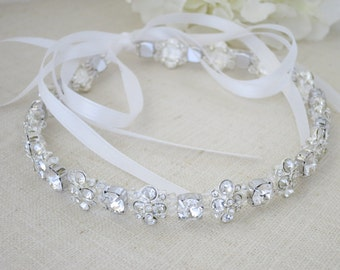 Swarovski crystal bridal headpiece, Rhinestone hair accessory, Boho wedding halo, Rhinestone flower hair accent, Crystal hair jewelry