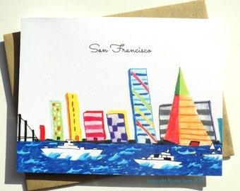 San Francisco Card, San Francisco Bay, San Francisco Notecard, San Francisco Greeting Card