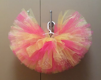 Hot pink, yellow and gold dot tutu ~super full tutu~fluffy tutu~birthday tutu~ can be ordered WITHOUT gold dots