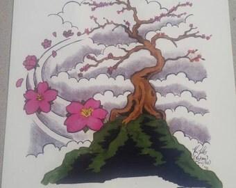 Pink Bonsai Tree PRINT 8 1/2x 11 in. on 80lb paper