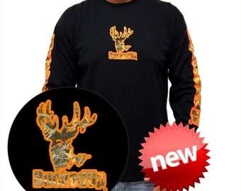 Bucked Up Men's Long Sleeve Black Shirt with Orange/Camo Logo