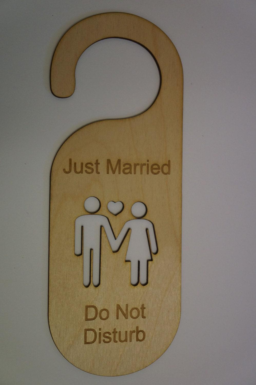 Birch door hanger just married do not disturb from madeyourwaycouk on etsy studio - Diy do not disturb door hanger ...