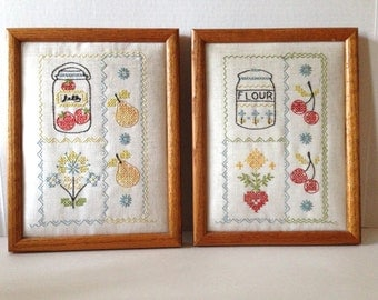 Two Vintage Hand-Embroidered Wall Hanging- Ingridents