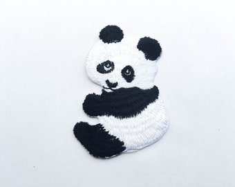 Panda Iron On Patch (L) - Panda Applique Embroidered Iron on Patch - Size 4.9x7.0 cm