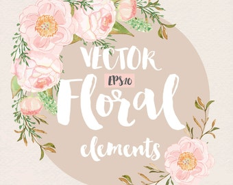 Vector Watercolor Rose Blush clipart, watercolor flower, Pink Floral Clipart, Leaf clipart,  Wedding Clip Art, wedding invitation, Peony