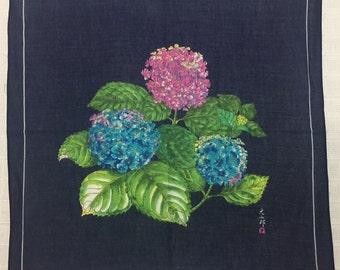 Vintage Handkerchief Hydrangea painting floral hankies from Japan