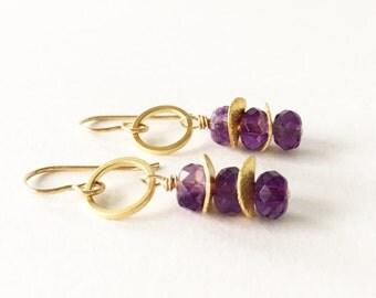 Amethyst Stacked Earrings on 14K Gold Filled Ear Wires, Modern Everyday Earrings