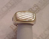 Vintage sterling silver & 14k yellow gold David Yurman Carved Mother of Pearl Top Ring size 7.5