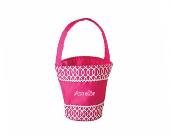Personalized Pink Easter Basket -  Geometric Pattern