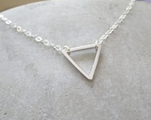 Delicate triangle necklace, Sterling Silver dainty chain, Perfect necklace for Layering , Available in gold triangle necklace