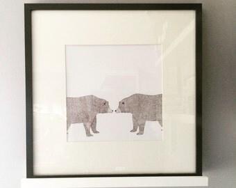 Mr & Mrs Bear, illustration, signed limted edition art Print