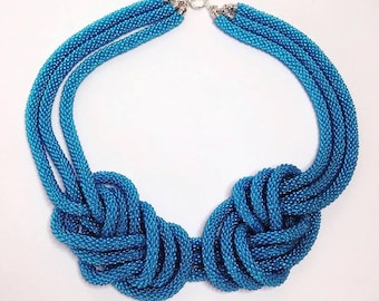 Marine knot necklace.Statement necklace. Beaded rope. Triple cord.Bright blue necklace.Exclusive accessory for summer vacation.