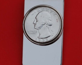 US 1940 ~ 1964 Washington Quarter 90% Silver Coin Stainless Steel Silver Plated Money Clip New