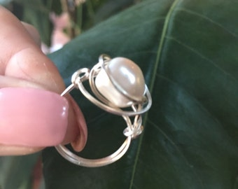 Wire wrapped faux pearl ring size 7.5 ring