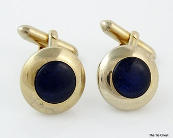 Vintage Swank Cufflinks 1950s Angled Blue Center Gold Tone