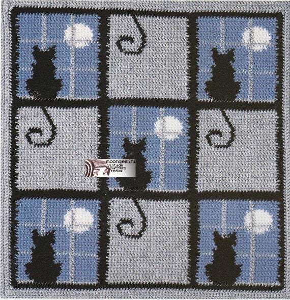 Crochet Afghan And Pillow Cat In The Window Charted
