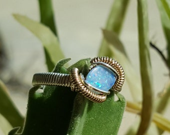 opal wire wrapped ring