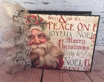 Christmas Photo Album - Photo Album - Mini Album - Brag Book - Mini Scrapbook - Scrapbook - Christmas Present - Old World Santa - Vintage