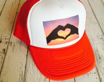 Sunset love hands trucker hat, sunset hat, trucker hat, hat with sunset, love hat, heart hat, womens hat, hat for girls, snapback