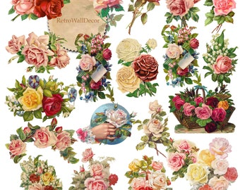 Roses Clipart Rose Clip Art, Valentine Rose, Antique Roses, Victorian Rose, Pink Roses Clipart Vintage Rose Graphics Flower Buy 2 Get 1 FREE