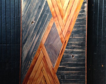 Kuba Inspired Wood Lath Art Wall Hanging