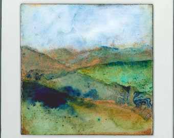 Small abstract landscape painting ~ Mixed media ~ Original  ~ Colorful contemporary artwork  ~ BLUE HORIZONS