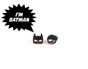 Batman earrings, batman and robin earrings, batman jewelery