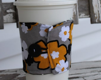 Reusable Coffee Sleeve, Coffee Cozy, Gray/Yellow/Black Floral with Button and Elastic Closure, Ready to Ship