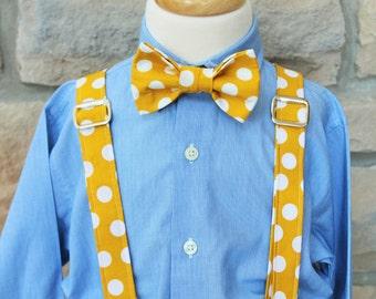 Little Boy Bow Tie and Suspender Set, Little Guy Tie and Suspender Set, Mustard Yellow and White Polka Dot Tie and Suspender Set