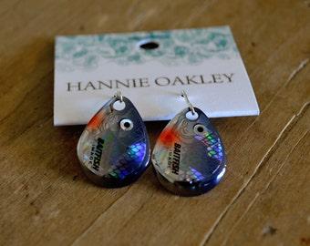 Fishing Lure Earrings, Fishing Jewelry, Lure Earrings, Lure Jewelry, Tackle, Fishing Tackle, Fishing Lure Jewelry - Fish Eye (Charcoal)