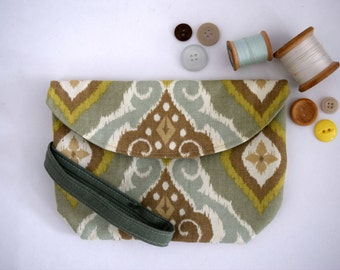 Teal And Brown Tribal Handmade Wristlet With Snap Close