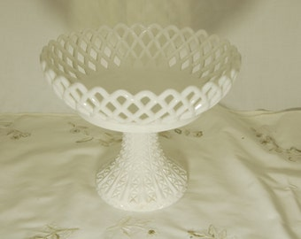 Vtg Challinor, Taylor and Co. Fruit Bowl Milk Glass Open Lattice Compote 1890