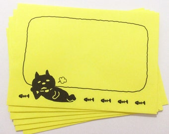 Neon Yellow Envelopes - Lazy Cat