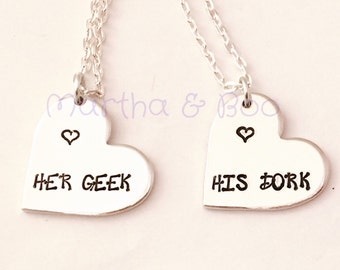 Couples necklace, his hers, pendant, geek, nerd, dork, wedding gift, engagement, custom jewellery, personalised, big bang theory, bangle