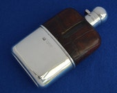Antique Victorian Sampson Mordan Crocodile Skin & Solid Silver Hip Flask 1898 - London - Graduation Gift - Birthday - Wedding - Groomsman