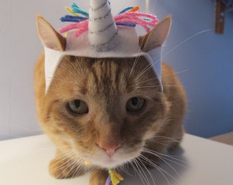 Rainbow Unicorn Hat For Cats