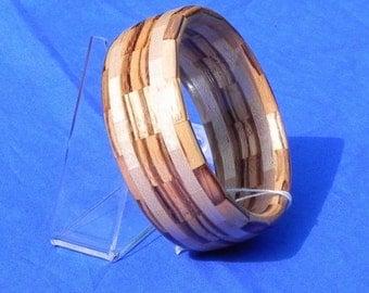 Handcrafted Segmented Wood Bangle Bracelet