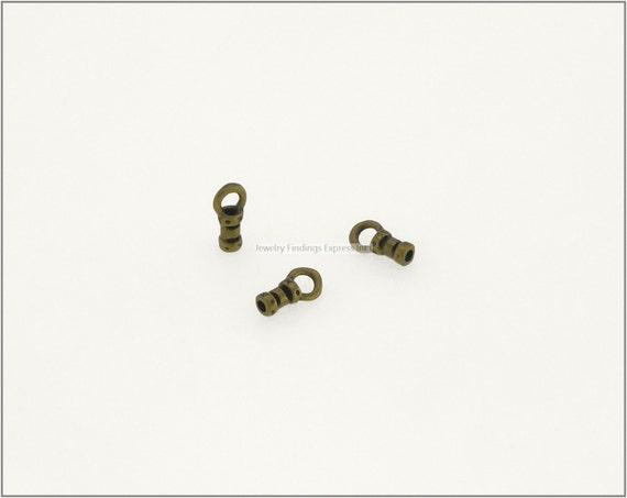 10 pc.+  1mm Crimp End Cap, Crimp Ends, Cord Ends for Leather Cords & Chains - Antique Brass