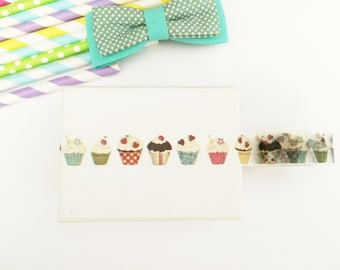 Colorful cupcakes washi tape, cute deco tape, paper tape, cute tape, packaging, wrap tape,cherries,sweets,cute cupcakes,baby shower,hearts
