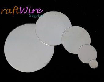 925 Sterling Silver Stamping Blanks, Round, 22 gauge, several Sizes and Dimensions