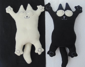 Plush Cat, Funny Cat, White Cat, Black Cat, Stuffed Animal, Cat Toy,  Soft toy, Stuffed toy, Cat, Lover, Gift For Cat