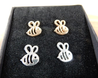 Bee Studs, Bee Earrings, Honeybee Studs, Stud Earrings, Insect Jewellery